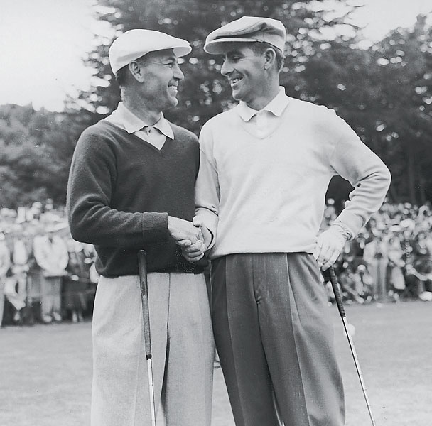 The Olympic Club first held the U.S. Open in 1955. Ben Hogan, left, congratulates champion Jack Fleck.