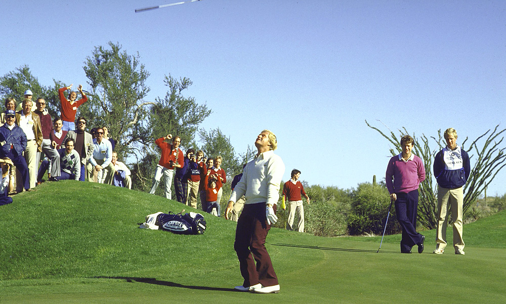 4. All Jacked Up. In 1984, the Skins Game was still at its best featuring the Big Three Plus One — Palmer, Player, Nicklaus and Tom Watson. Watson mopped up on the opening nine but the legends gamely battled it out on the back. No skins were won, making the 18th a carryover hole worth $240,000. Nicklaus won it all plus the event's title when he sank a 10-foot putt on the final green. How big a moment was it? Jack was so excited that he tossed his putter into the air, something he did only one other time — when he edged Doug Sanders in the British Open at St. Andrews.