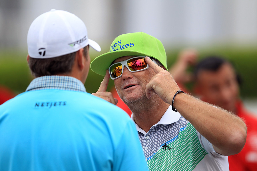 """NBC announcer Peter Jacobsen donned a colorful costume at Doral for a segement of """"Jakes Takes."""""""