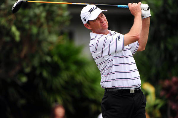 Davis Love III made a birdie on 18 to tie for second.