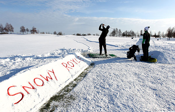 Greenskeepers at Castle Royle Golf Club in the United Kingdom created a six hole course for snow play.