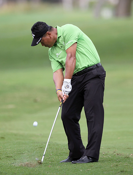 K.J. Choi is tied for second after going five under on the day.