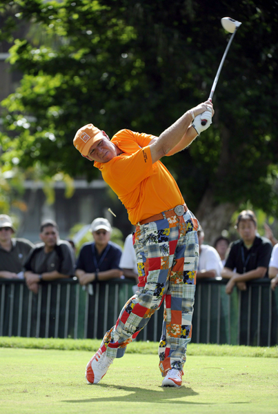 John Daly made a birdie on No. 9, his last hole of the day, for a 2-under 68.