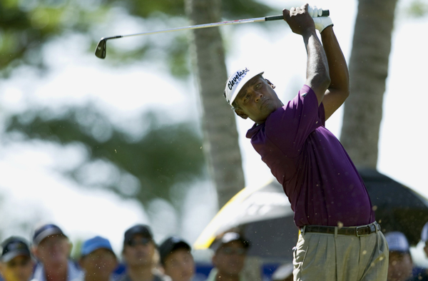 Vijay Singh birdied three of the last four holes to shoot even par.