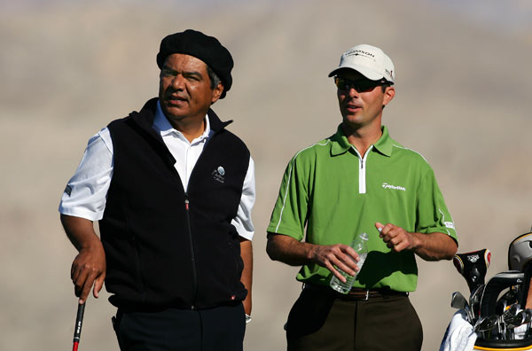 Comedian and celebrity host George Lopez, left, played with Mike Weir on Saturday.