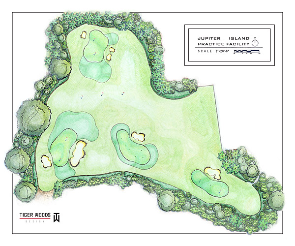 Tiger Woods had long hoped to have his own practice facility to hone his short- and mid-range game. When he purchased property on Jupiter Island in 2006, he decided to make his dream facility a reality. Once he began thinking through the design, he did it with one goal in mind: to replicate tournament-level playing scenarios, similar to those he has faced on courses all over the world.