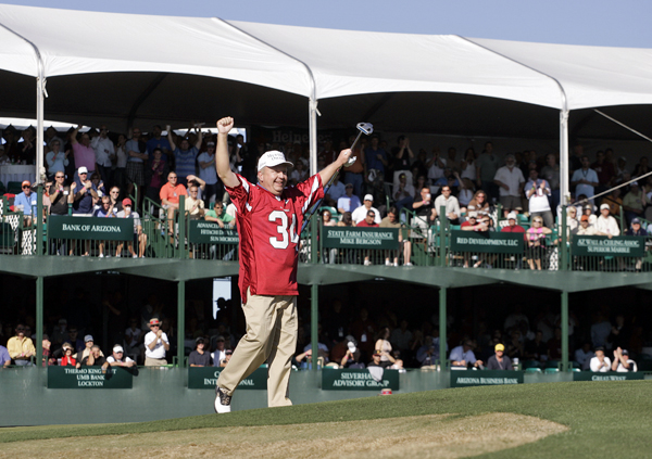 Billy Mayfair got the crowd rocking at the 16th hole when he wore an Arizona Cardinals jersey.