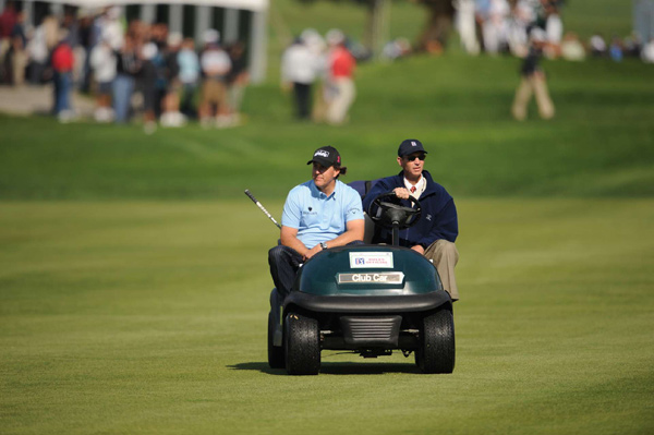 Mickelson had to hit another drive on No. 7 after he lost his first ball in a tree.