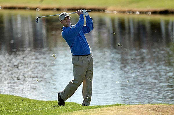 First round of the 2008 FBR Open                       Charles Warren, left, and Kevin Sutherland shot six-under 65s on Thursday to share the first-round lead. They are a shot ahead of Brian Gay, Camilo Villegas and Rich Beem. Nick O'Hern, who had finished 14 holes when play was suspended because of darkness, was also five under.