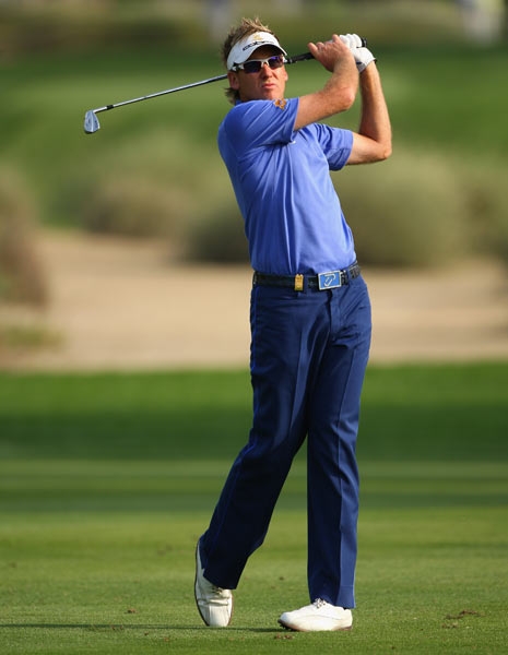 Ian Poulter had back-to-back birdies on Nos. 15 and 16. He finished at two under par.