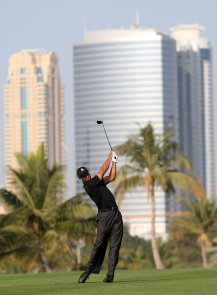 First Round of the Dubai Desert Classic                     Tiger Woods holds a two-stroke lead after a bogey-free round of 65.