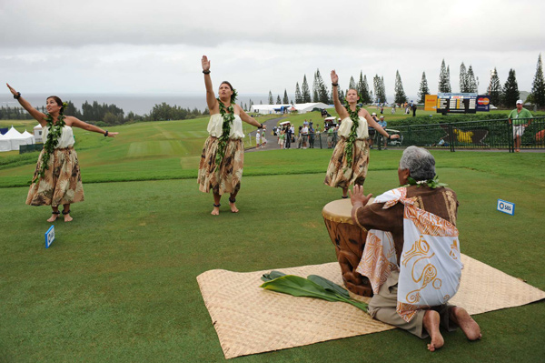 Several dancers performed before the start of the SBS Championship Thursday at Kapalua.