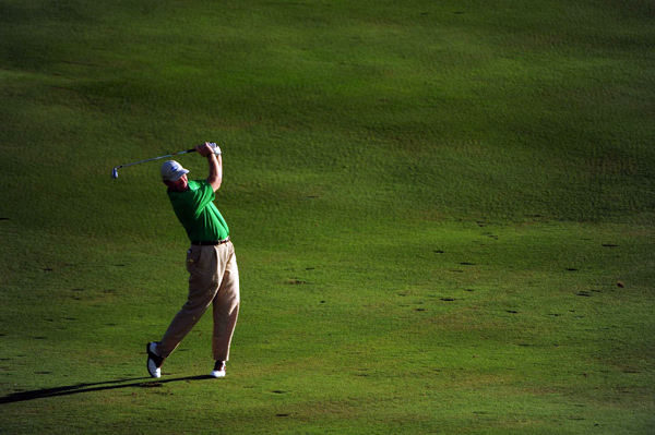 Ernie Els is one stroke off the lead at five under par.
