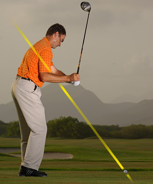 NO! If the butt of your club points inside your target line or at the ground, your downswing is too steep — you'll hit either a pull, pull-slice or pop up.