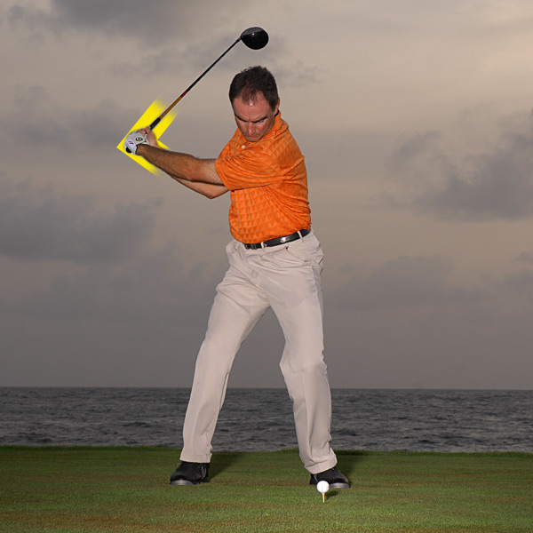 Power Factor 2: Wrist Hinge                                              WHAT IT IS: A secret power lever — your wrist joints are among the fastest in your body.                                              WHAT IT DOES: When you hinge your wrists on your backswing, you store potential energy. When you unhinge them at the proper moment on your downswing, your clubhead speed explodes.                                              Hinging your wrists fully gives your swing greater energy.