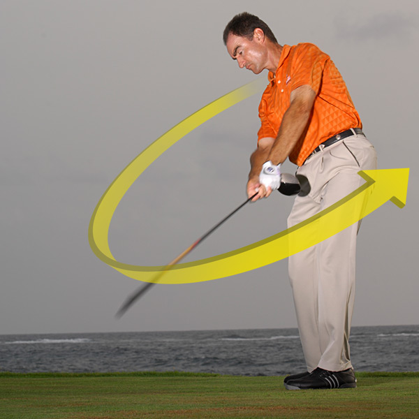 "POWER DRILL                                          HOW TO GET IT: It's all about timing. You want the fastest part of your downswing to occur near the bottom of your swing arc. Grip the shaft of your driver near the clubhead end and make a few practice swings. Notice the ""whoosh"" sound. The whoosh is loudest when the shaft is moving its fastest.                                          Set up in your address position, take the club back with a full hinge of your wrists and unhinge them very early in your downswing. Notice how the whoosh occurs way before the ball. Do the same thing but this time hold off unhinging your wrists for as long as you can. The whoosh should have occurred way after the ball. This shows how releasing the club too early — or not at all — robs you of speed. Continue the drill, but now focus on making the loudest whoosh where the ball would be. It helps if you grip the club in your fingers instead of imbedding it in your palm (copy the grip above). A finger grip gives your wrists more freedom to hinge and unhinge.                                          When you time the unhinging of your wrists perfectly, the whoosh sound your club makes will occur near the low point of your swing arc."