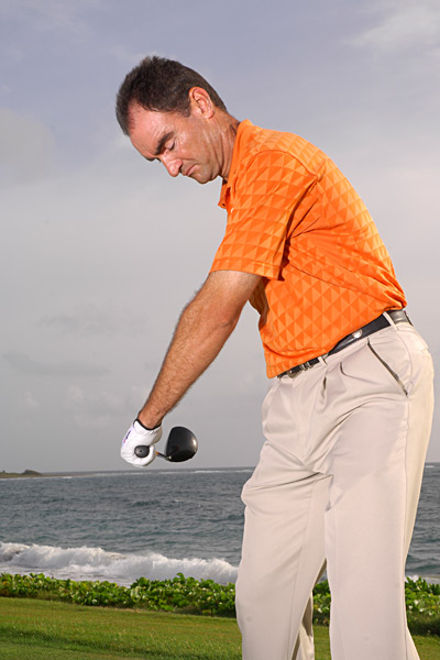 Power Factor 3: Square Clubface                                          WHAT IT IS: The clubface is aimed directly at your target at impact.                                          WHAT IT DOES: Makes sure your new, longer drives stay in the fairway.                                          Left elbow points at the target here...