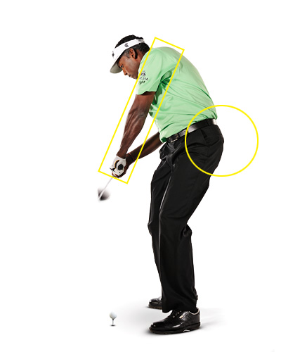 "I ALWAYS DO THIS...                     The first thing that flashes through my mind at the start of my downswing is ""pull!"" I'm very left-side oriented, so I pull hard with my left hand from the top and bump my left hip toward the target."