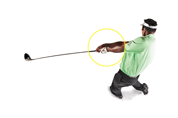 I ALWAYS DO THIS...                     I never try to steer the ball. You have to let the clubhead go in your release. Getting your right hand on top of your left after impact is an absolute necessity.