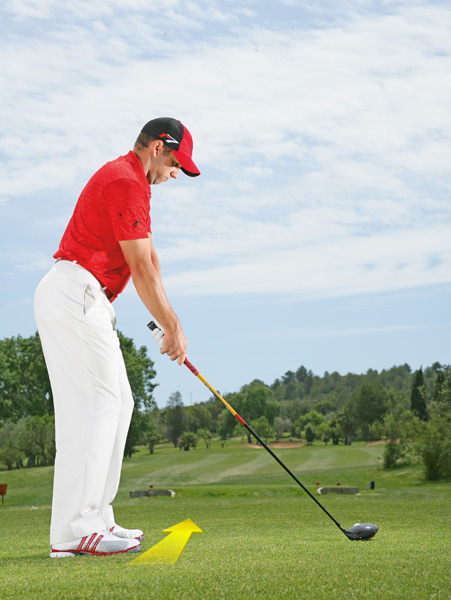 Aim up the left side of the fairway to accommodate a fade ball flight.