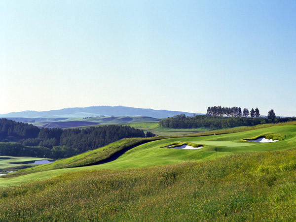 7. Palouse Ridge Golf Club at Washington State University                       Pullman, Wash.                       7,308 yards, par 72; Green fees: $58-$104;                       509-335-4342; palouseridge.com                                              Washington State University has produced its share of                       NFL stars — Drew Bledsoe, Ryan Leaf, Timm Rosenbach — so perhaps the school's new golf course will help it produce                       PGA Tour-level golfers. One thing is certain: All WSU                       golfers will be assured a stiff test before graduation.                                              Palouse Ridge belongs in the upper echelon of college                       courses. The John Harbottle III design rolls through                       windswept, mostly treeless terrain and boasts panoramic                       views of mountain peaks in Idaho and Oregon. Particularly                       eye-catching are the massive, whisker-edged bunkers that dot                       the layout. The 463-yard, par-4 1st hole sets the tone, playing                       along a fescue-covered ridge toward Bryan Clock Tower,                       WSU's most recognizable landmark.                                               In short order, Palouse                       Ridge has proven to be the perfect excuse to cut class.