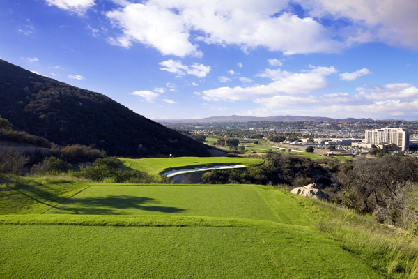 4. Journey at Pechanga                        Temecula, Calif.                       7.219 yards, par 72; Green fees: $150-$200;                       888-732-4264; journeyatpechanga.com                                              Journey at Pechanga,                       an Arthur Hills creation                       spearheaded by Hills'                       partner Steve Forrest, is                       layered with architectural                       gambits.                                               Some succeed                       more than others, but the                       result is an unforgettable                       romp through Southern                       California's wine country                       at the upscale Pechanga                       Resort & Casino.                                              The driveable 488-                       yard, par-4 6th hole — yes,                       you read that correctly, driveable — plummets 18 stories from                       tee to fairway. The fun continues with an oak tree in the middle                       of the 7th fairway, a punchbowl green at the 10th, and a Biarritz                       green with its characteristic vast hollow in the middle at the                       18th. If you're the kind of golfer who's looking for unparalleled                       variety with a splash of quirk, your journey ends here.