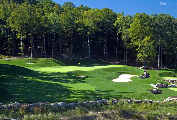 2. Pound Ridge Golf Club                        Pound Ridge, N.Y.                        7,171 yards, par 72; Green fees: $235;                        914-764-5771; poundridgegolf.com                                              Pound Ridge is a Pete                       and Perry Dye design whose                       combination of beauty and                       brutality echoes Whistling Straits and Kiawah Island's Ocean Course. While its                       challenges are relentless, it                       captivates from beginning to end thanks to a succession of                       vividly memorable holes. The Dyes were given a 172-acre                       canvas studded with rock outcroppings, many of which come                       into play. And if the rocks don't get you, the wetlands, forced                       carries, fescue mounds and fiendishly contoured greens will.