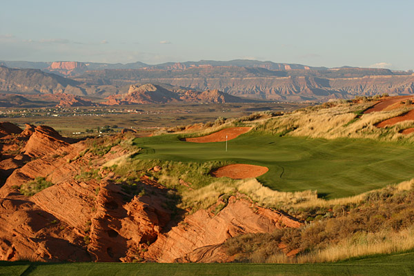 """6. Sand Hollow Resort (Championship Course)                     Hurricane, Utah                     7,319 yards, par 72; Green fees: $50-$125;                     435-656-4653; sandhollowresort.com                                          Architect John Fought has taken southwest Utah by                     storm with this superb layout in Hurricane, just 15 minutes                     from St. George. The former All-American at BYU carved                     out a massive layout with gigantic greens, and the result is                     a playable, natural-looking high-desert design 25 minutes                     from Zion National Park.                                          Ridgelines, canyons and red-rock cliffs highlight the round.                     The front nine is fairly sedate, but the back is a home run,                     with a four-hole stretch (Nos. 12 to 15) that's among the most                     memorable in the West. Steep outcroppings and red-sand                     bunkers punctuate each hole, making it abundantly clear                     why the region is known as """"Color Country."""""""