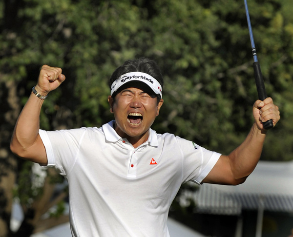 Y.E. Yang: Shot of the Year Ferret                       The Academy could not reach consensus here, so we have a tie between Y. E. Yang's second to the last hole of the PGA Championship at Hazeltine, and one of Tiger's. That's how weird it's become — he of the gilded gonads hits so many shots that are in a different category from everyone else's that by the end of a season it's all a blur, kind of like the '90s were for me. (I know I played in a Ryder Cup, but only because of the pictures, and I'd be doubtful even about that if it hadn't happened before Photoshop.)
