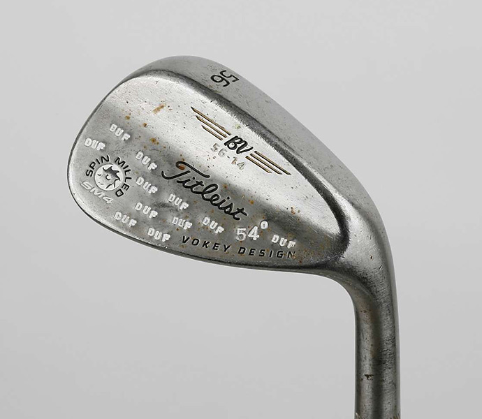 WEDGE: Titleist Vokey Design SM4, 56° bent to 54°; 108 yards; True Temper DG Spinner steel shaft, stiff flex