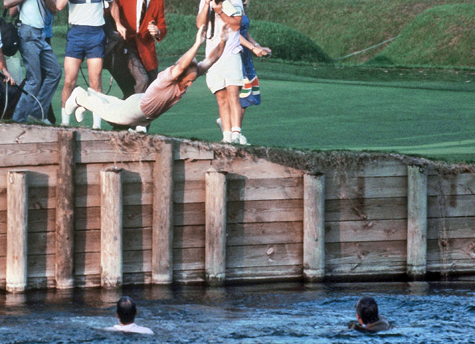 12. Jerry Pate's Second Splash: Most PGA Tour fans know that when Jerry Pate captured the inaugural Players Championship contested at TPC Sawgrass in 1982, he celebrated by plunging into the greenside lake at 18, dragging architect Pete Dye and Commissioner Deane Beman in with him. This stunt wasn't new; Pate had celebrated breaking a three-year victory drought the year before at Memphis by diving into the water.