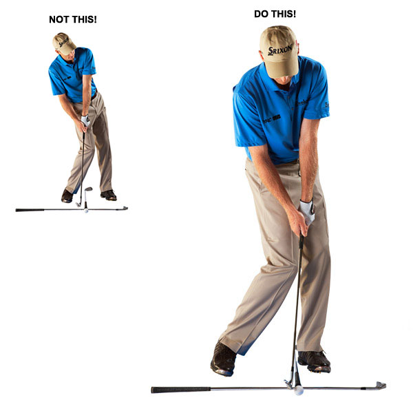 TRY THIS! Hit your irons with the ball positioned for a driver                                              The next time you go to hit practice balls, purposely position the ball too far forward in your stance. For example, hit your 8-iron with the ball played in your driver ball position. This is a great practice drill that Jeff Sluman taught me. With the ball played far forward, you're forced — at the very least reminded — to get your weight moving forward on your downswing and turn through the shot.                                              DO THIS!                       Hit shots with the ball played forward of normal to practice getting your weight all the way left.                                              NOT THIS!                       Playing the ball too far back encourages you to hang back on your downswing.