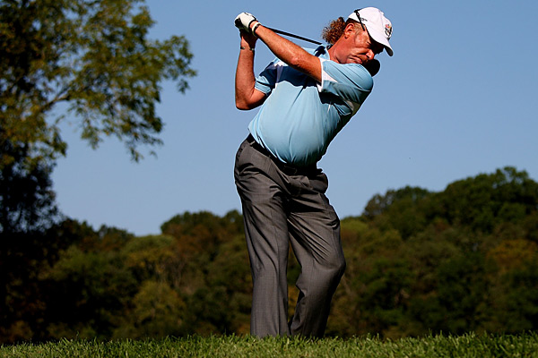 Miguel Angel Jimenez                       His throwback swing                       shows you how to                       crank it without coil                       Analysis by Top 100 Teacher Jon Tattersall                       It was easy to pick out                       Miguel Angel Jimenez                       at the 2008 Ryder Cup,                       and not because he was                       the only golfer with                       a knotted kink of red                       hair poking out the back of his cap.                       His swing is a throwback to a time                       when Tour players didn't try to coil                       their shoulders against their lower                       body. Jimenez turns everything: his                       shoulders, hips, knees — even his                       ankles. The lack of resistance costs                       him some distance (he averages                       278 yards off the tee), but his swing                       is powerful enough to hang at the                       highest level. Plus, he's a dead-eye                       from mid-range: In 2008, nobody on                       Tour knocked it closer from 150 yards                       than Miguel (19 feet on average).                       Jimenez understands what he can                       and can't do. So should you, which                       means that you should take a good                       look at Miguel's technique and work                       some of into your own. Jimenez's                       swing is one that all mere mortals                       can copy, and despite the fact that                       it's missing the torque associated                       with big yards, it has all the right                       moves to get you from tee to green                       in the fewest strokes possible.
