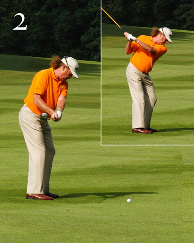 Halfway back, you can see his shirt buttons                       and his left knee, evidence that everything is                       turning. More important, he hinges his wrists so                       that the shaft sits parallel to the target line. As                       he continues back, he rolls his forearms to keep                       the club on plane without lifting the club up.