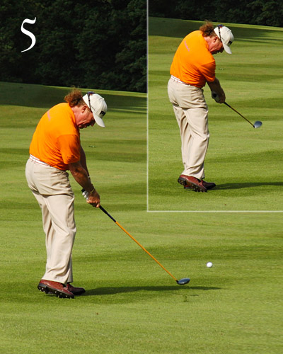The most important thing about Jimenez's                       impact position is how relaxed it looks — he's                       simply letting the ball get in the way. But he                       doesn't stop there. After impact, he releases                       his arms fully and without tension while his                       chest speeds past his lower body.
