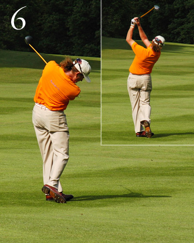 Just like his personality, notice how free-flowing                       Miguel's arms look in his through-swing. He                       makes no attempt to steer the ball. The key is                       to swing your arms with your chest, then allow                       them to fly away from it in your through-swing                       into a poised, balanced finish.