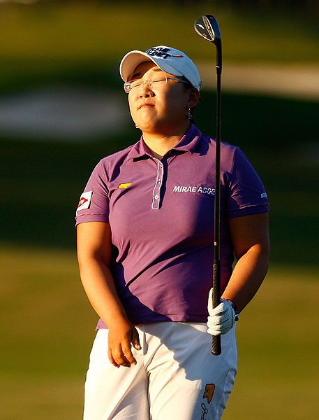 just missed a birdie chip on 18. She finish at six under par.
