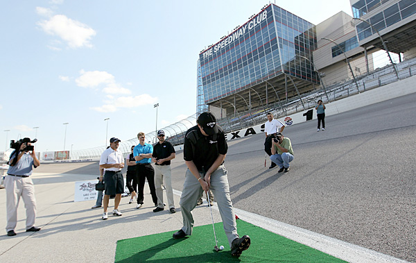 The second event was a putting contest that made use of the 24-degree banking in Turn 1. Henry got creative with his putt.