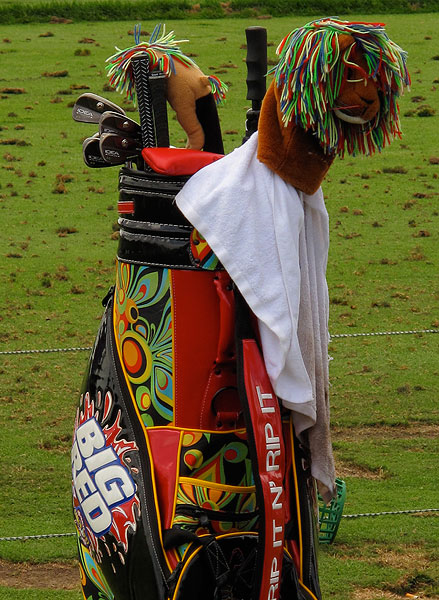Daly also has a colorful golf bag.