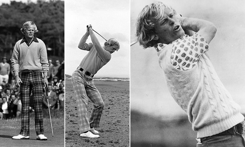 Johnny Miller these days sets the standard for golf commentary on television. As a golfer, he also was a a style setter, reflecting the post-sixties hip look of the era. At Troon in 1973, (middle) we see him in tight-fitting, flare-bottomed plaid golf pants with a turtleneck. Or (right) a paisley, short-sleeve shirt worn under a cable-knit sweater vest. At left, check out the golf shirt's wide collar, a fashion touchstone of the times, worn outside the sweater, of course.