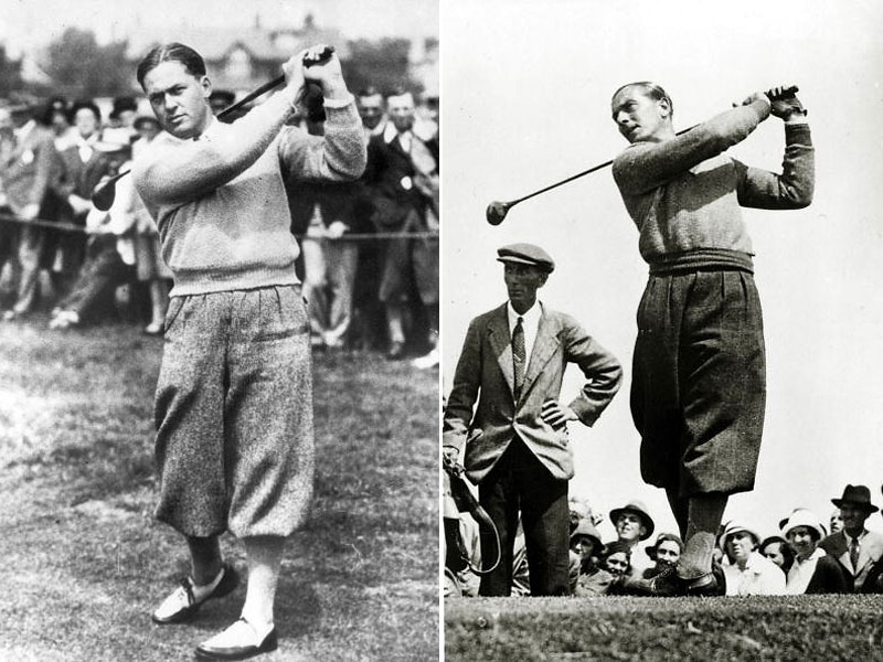 The great Bobby Jones (left) in action at Hoylake in 1930 in billowy, pleated plus fours. Henry Cotton, the 1934 and 1937 Open champion, follows through in sweater and plus fours so loosely cut they almost seem like a kilt.