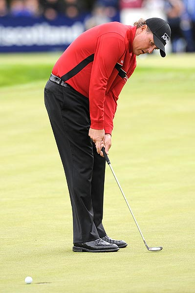 Mickelson missed a birdie putt on the par-4 fourth hole.