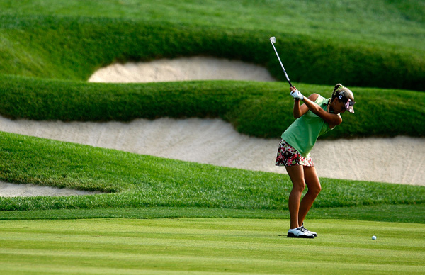 Alexis Thompson, a 14-year-old amateur, is only five strokes behind the leader.