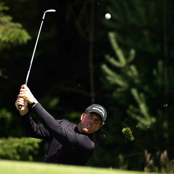 Mickelson began his British Open preparation by playing a practice round at Carnoustie on Monday.