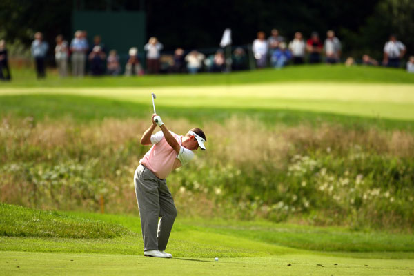 Lee Westwood finished the day three shots off the lead.