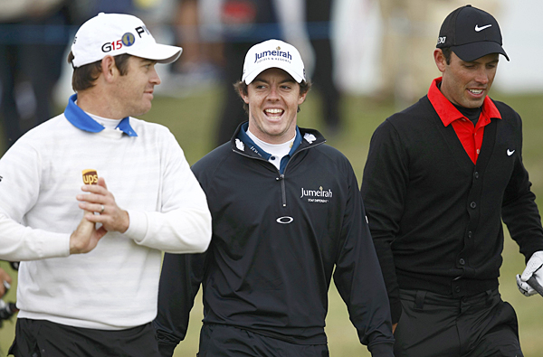 Rory McIlroy was out early Wednesday morning for a practice round with defending champion Louis Oosthuizen, Masters champion Charl Schwartzel and Darren Clarke (not pictured).