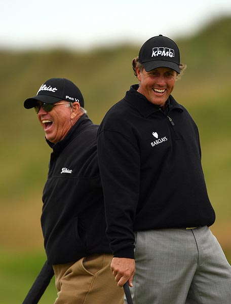 Mickelson, here with coach Butch Harmon, finished 11 strokes off the lead at the Scottish Open last week.