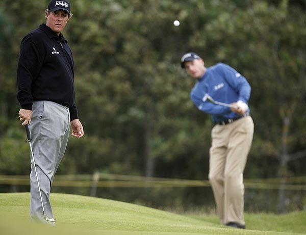 Tuesday at Birkdale                       Phil Mickelson and Jim Furyk were out early on Tuesday morning for a practice round.