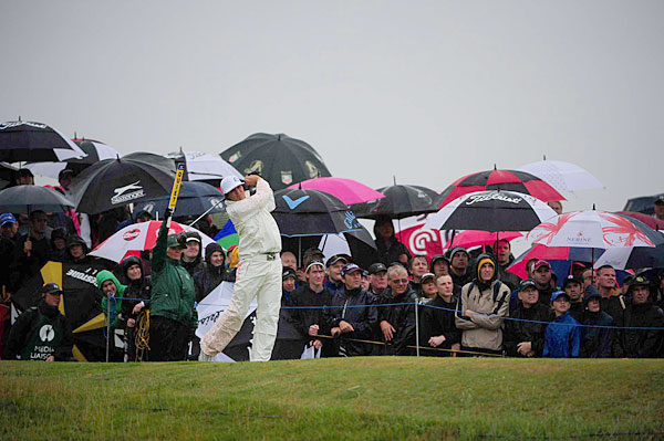 "was out early in the worst of the weather, but he shot a two-under 68 to move into contention. ""Obviously, it wasn't the best of conditions,"" Fowler said. ""But you knew it was going to be tough, and you just had to make the best of it."""