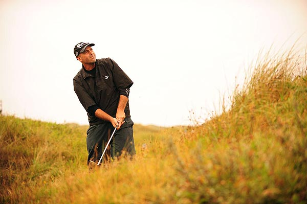 First Round of the British Open                       Rocco Mediate birdied the final two holes to move into a three-way tie for the lead at one under par.